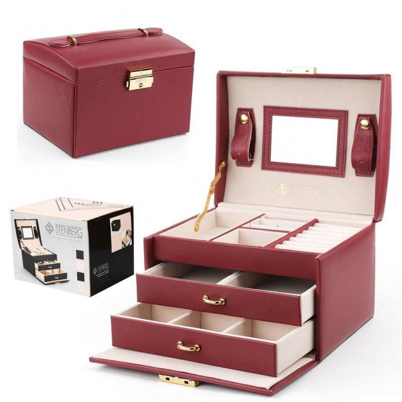 Szkatułka na biżuterię elegant bordowa STENBERG PD49CZE