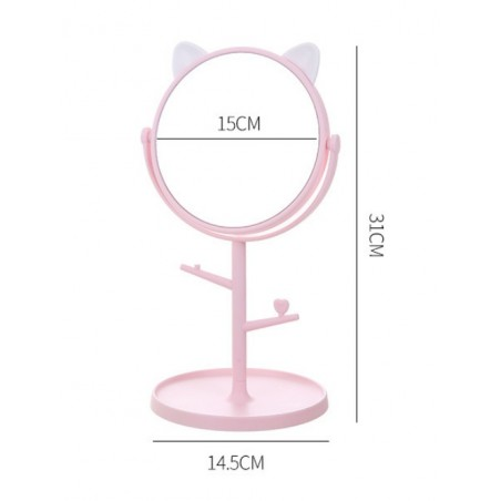 Lusterko kotek stojące różowe L3R