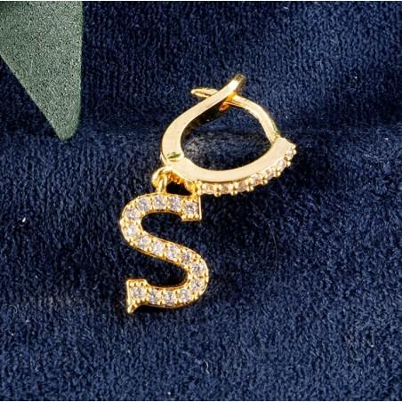 Kolczyki pozłacane literka  S KST1683S
