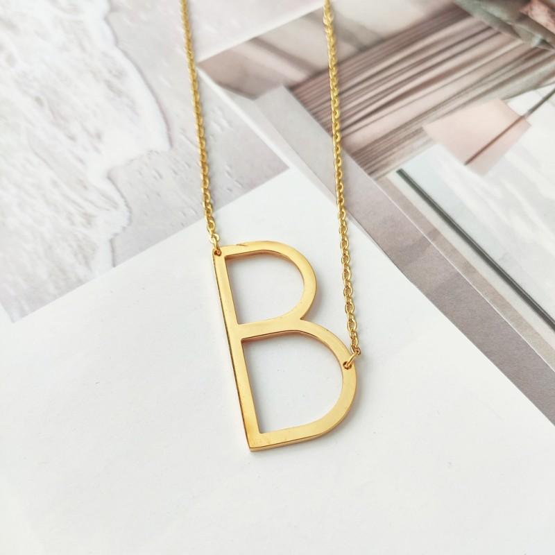 Naszyjnik stal chirurgiczna literka B platerowana złotem NST995B