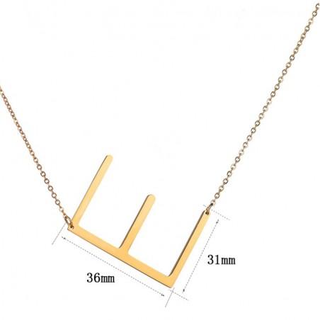 Naszyjnik stal chirurgiczna literka E platerowana złotem NST995E