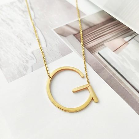 Naszyjnik stal chirurgiczna literka G platerowana złotem NST995G