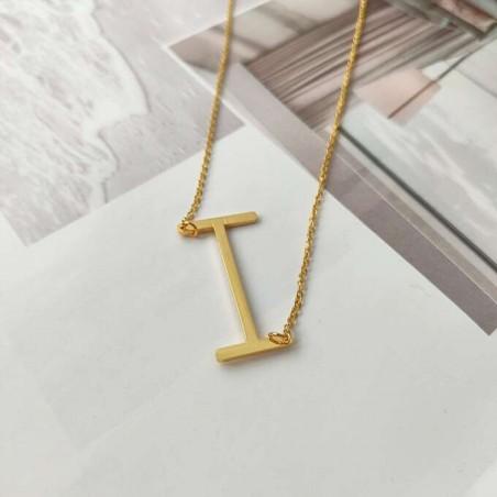 Naszyjnik stal chirurgiczna literka I platerowana złotem NST995I