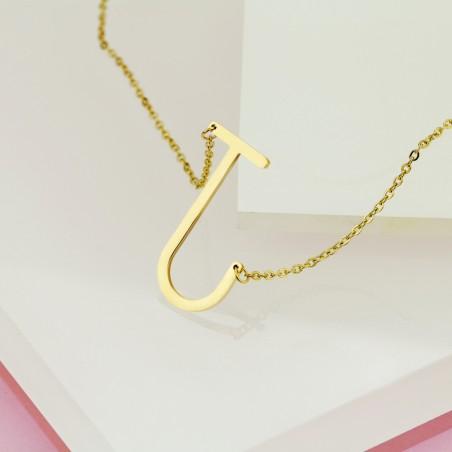 Naszyjnik stal chirurgiczna literka J platerowana złotem NST995J