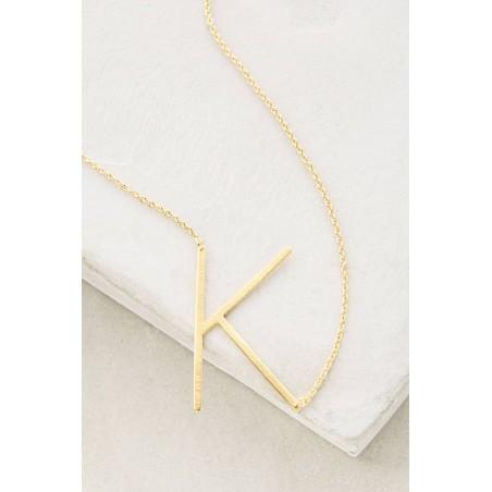 Naszyjnik stal chirurgiczna literka K platerowana złotem NST995K