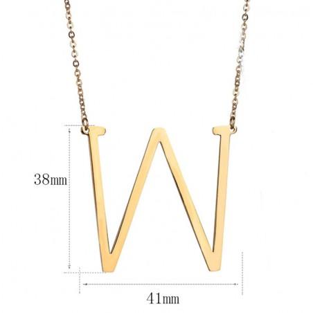 Naszyjnik stal chirurgiczna literka W platerowana złotem NST995W