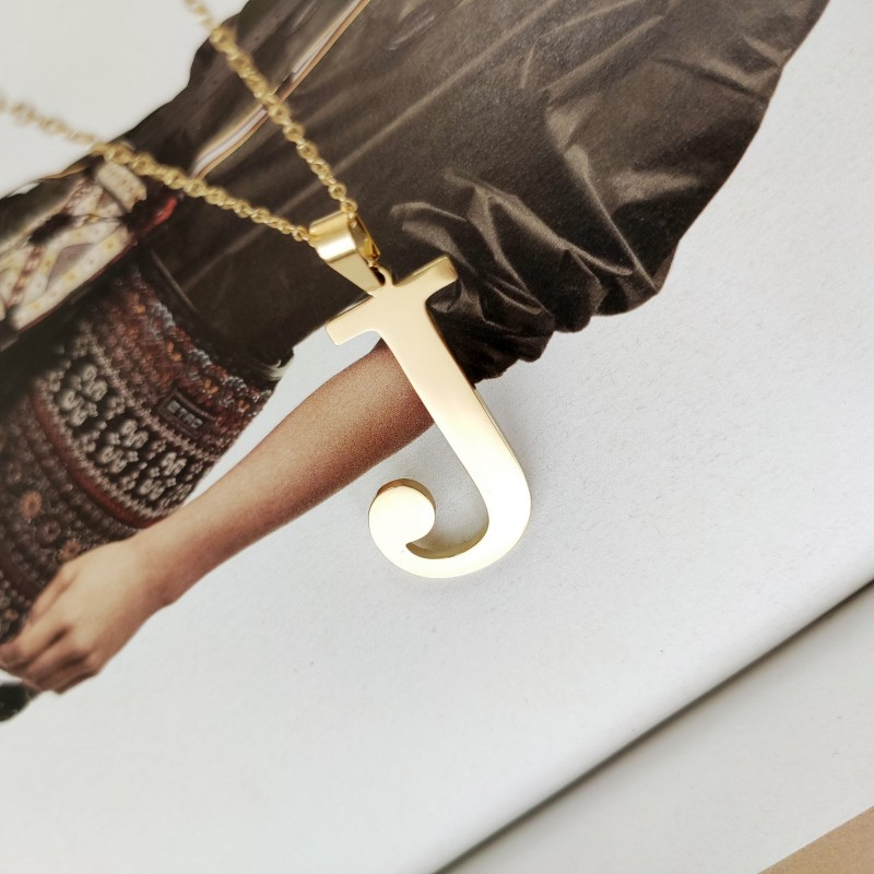 Naszyjnik stal chirurgiczna literka platerowana złotem NST100J