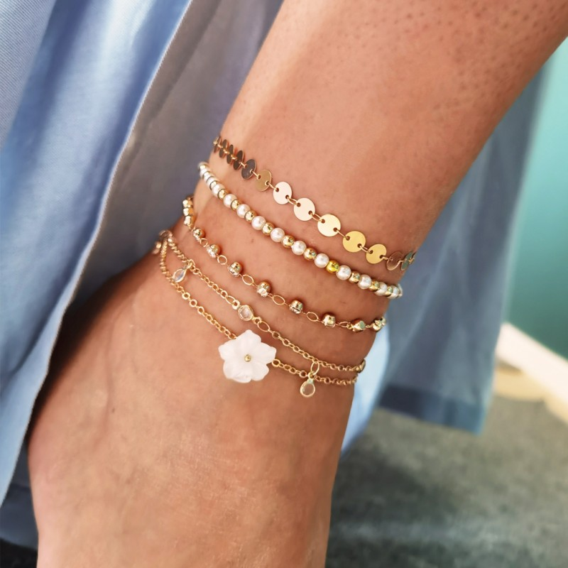 Bransoletka na stopę 5w1 złota koraliki perełki B502