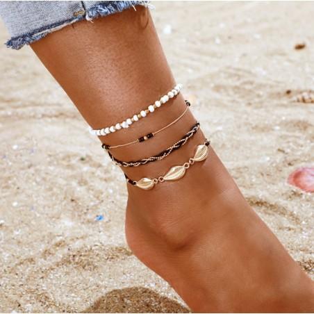 Bransoletka na stopę 4w1 złota koraliki czerń B495