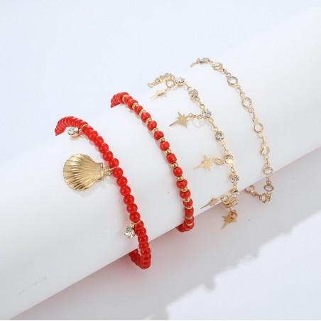 Bransoletka na stopę 4w1 złota koraliki red B499