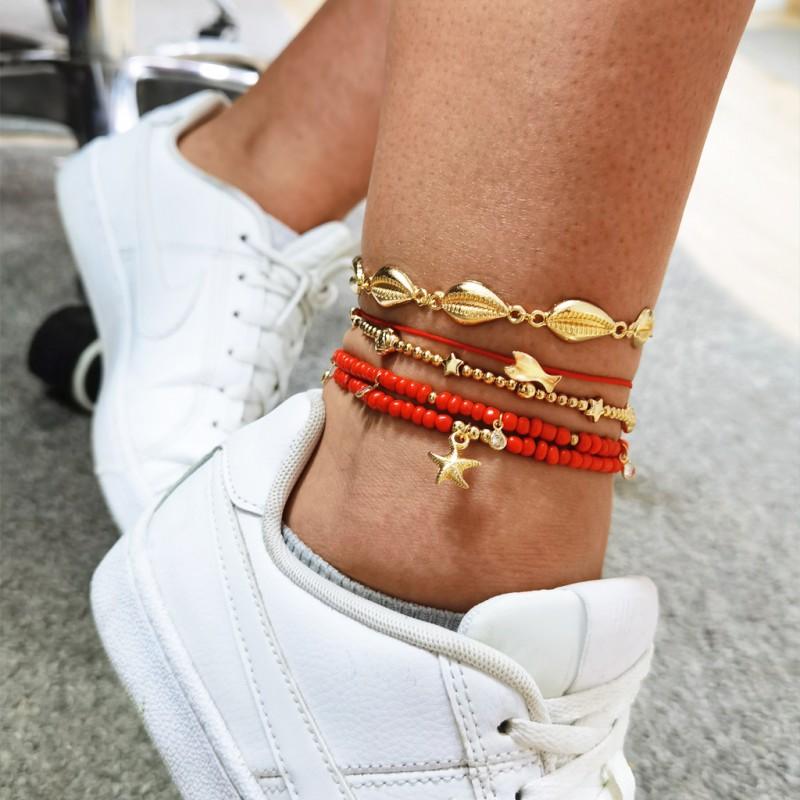 Bransoletka na stopę 5w1 złota koraliki red B500