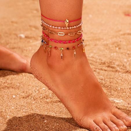Bransoletka na stopę 5w1 złota koraliki B521