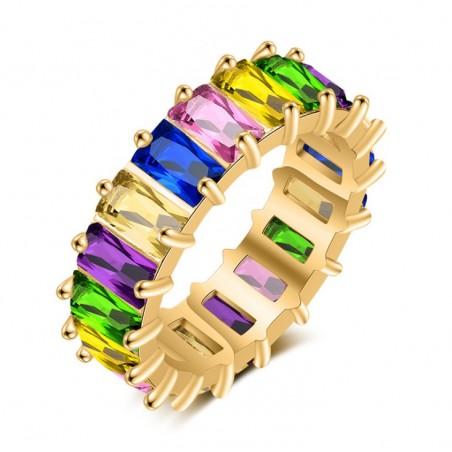 Pierścionek pozłacany cyrkonie kolor stal chirurgiczna platerowana złotem PST579