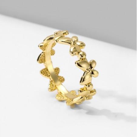 Pierścionek pozłacany regulowany stal chirurgiczna platerowana złotem butterfly PST578Z