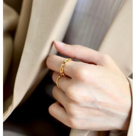 Pierścionek pozłacany regulowany stal chirurgiczna platerowana złotem PST576Z
