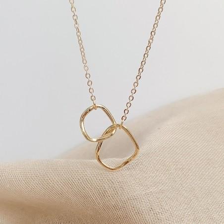 Naszyjnik celebrytka rings stal platerowana 14 karatowym złotem NST1006