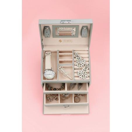 Szkatułka na biżuterię, kuferek w kolorze pudrowego różu STENBERG PD49SZ