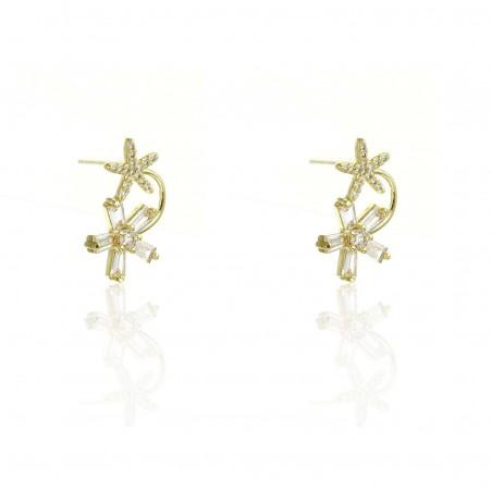 Kolczyki stal chirurgiczna złote przy uchu kwiaty z cyrkoniami sztyft KST1791