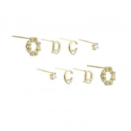 Kolczyki komplet stal chirurgiczna złote z cyrkoniami wkrętka KST1816