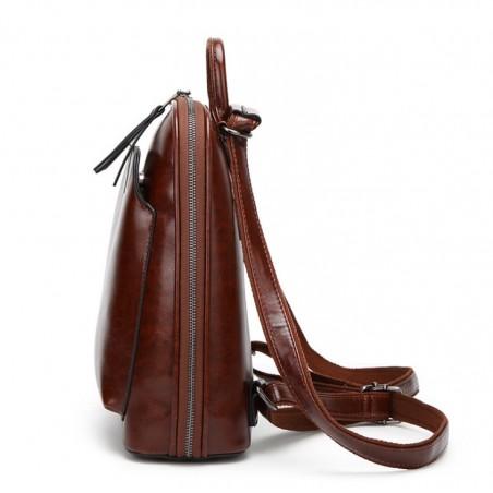 Plecak skóra woskowana elegancki model - brąz PL146BR