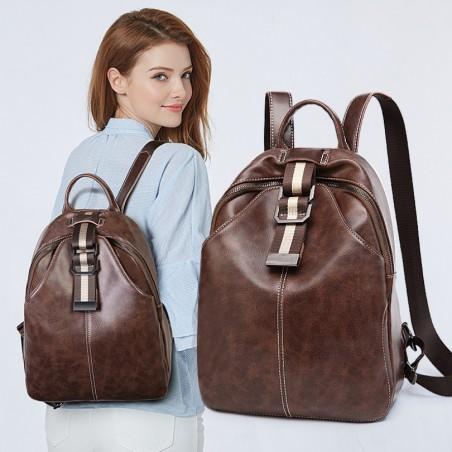 Plecak skóra woskowana elegancki model - brąz PL147BR