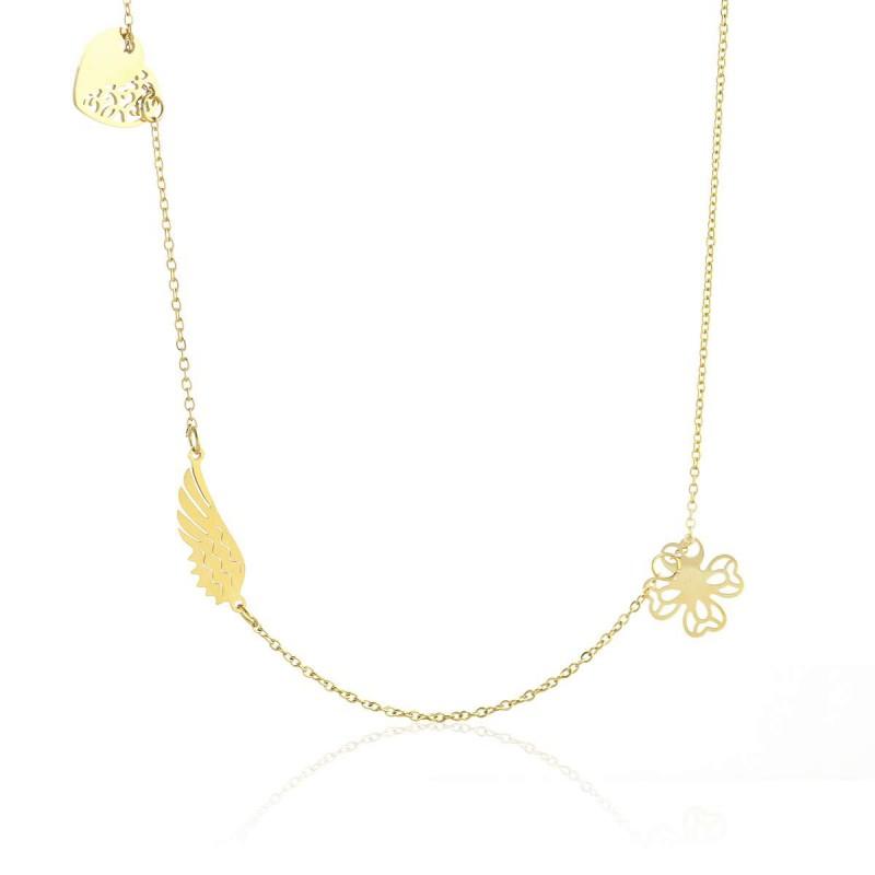 Naszyjnik stal chirurgiczna motyle złoty NST1015