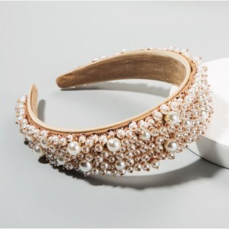 Opaska turban z materiału ekskluzywna z perełkami O335