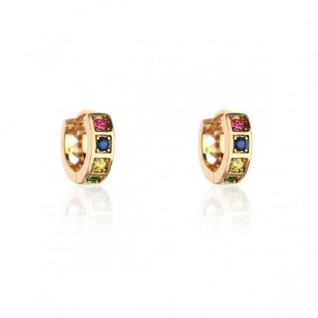 Kolczyki ze stali szlachetnej okręgi z kryształkami platerowane złotem zapięcie angielskie KST1854