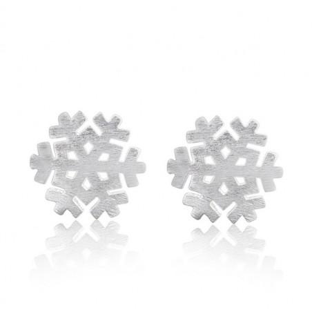 KOLCZYKI ZE STALI CHIRURGICZNEJ śnieżynki rodowane K1449