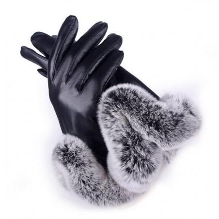 Rękawiczki GLAM SZTUCZNE FUTRO CZERŃ REK 116