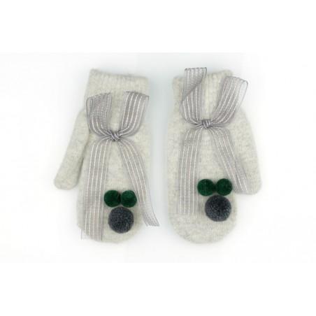 Rękawiczki CUTE pompony kokarda szare REK127