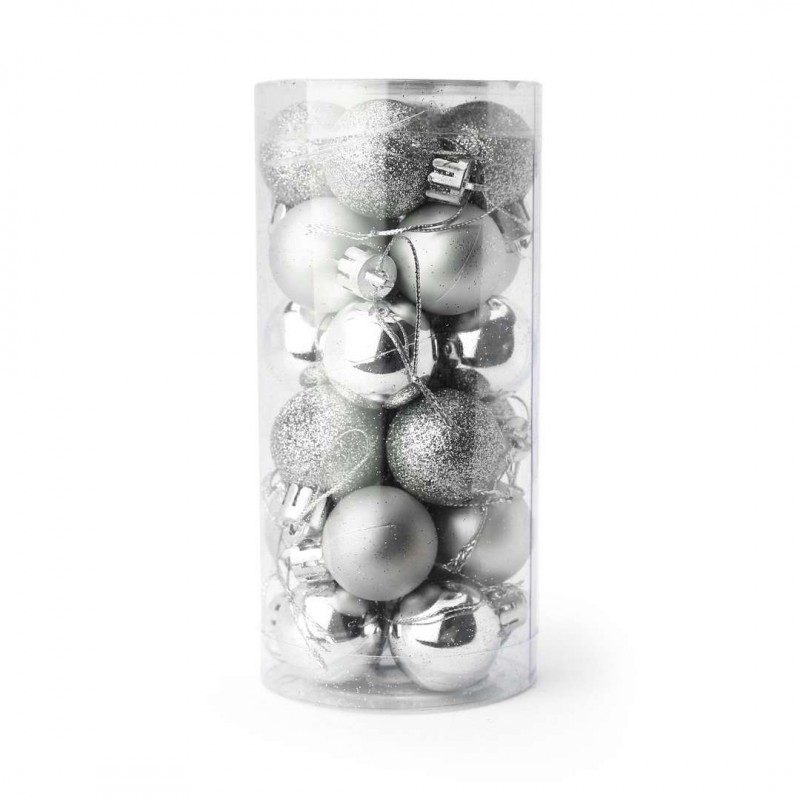 Komplet bombek 24 szt w opakowaniu 3 cm średnicy srebrne BSN01S