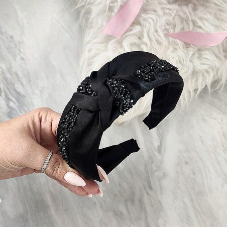 Material turban headband decorated with lace bright pink O338R