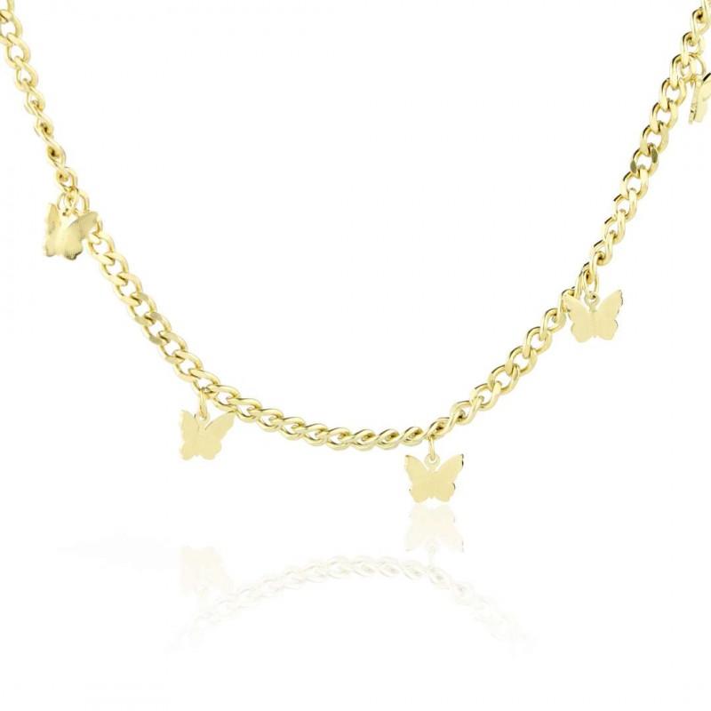 Naszyjnik stal chirurgiczna motyle złoty NST1048