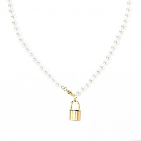 Naszyjnik stal chirurgiczna perły złoty NST1073