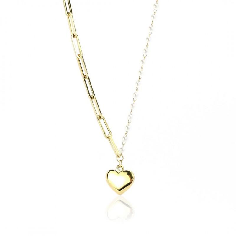 Naszyjnik stal chirurgiczna serca złoty NST1072
