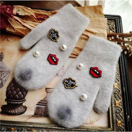 Rękawiczki sweet z pomponem szarość REK41SZ