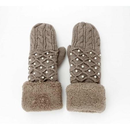 Rękawiczki perełkowe brązowe REK46BR