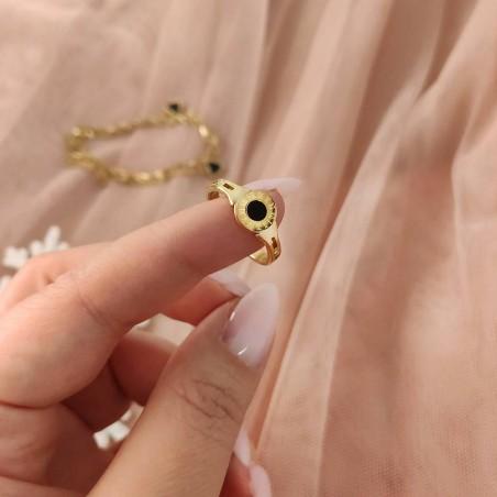 Pierścionek stal chirurgiczna platerowana złotem PST594