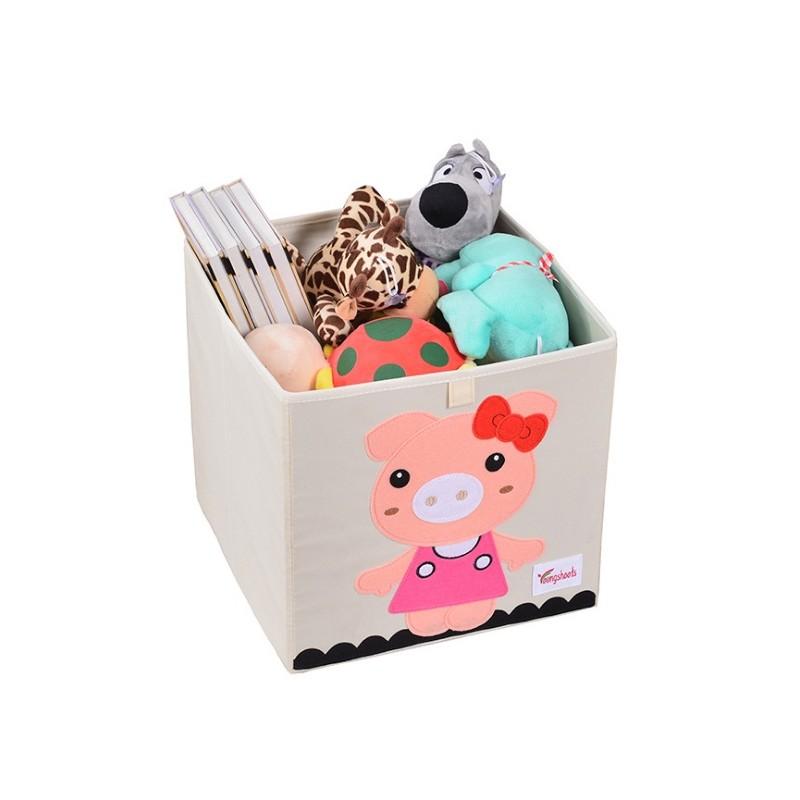 Pojemnik na zabawki sztywny, filc, świnka dziewczynka OR4WZ19