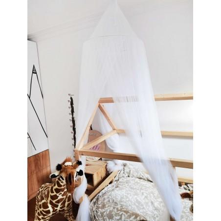 Baldachim do łóżeczka tiulowy, duży, gęsty, biały BAL1B