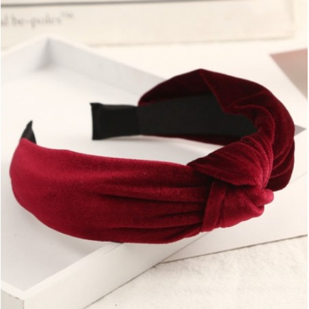 Opaska turban z materiału koronkowa z perełkami O229BOR
