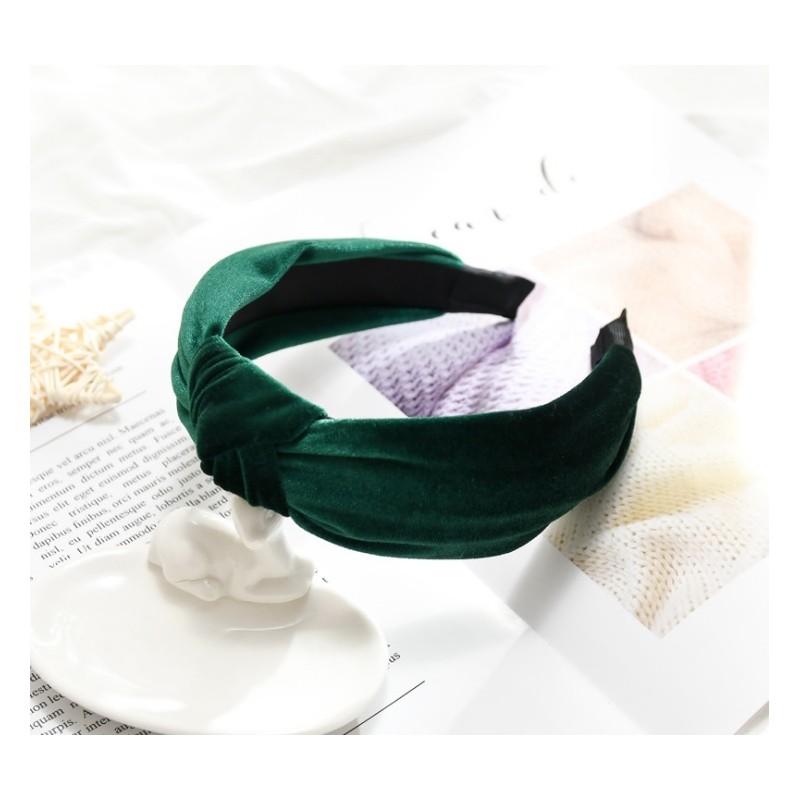 Opaska turban z materiału butelkowa zieleń O229ZIE