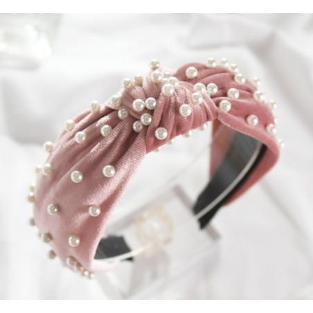 Opaska turban z velvet z perłami róż O371WZ3