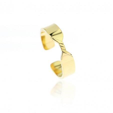 Pierścionek stal chirurgiczna platerowana złotem PST611