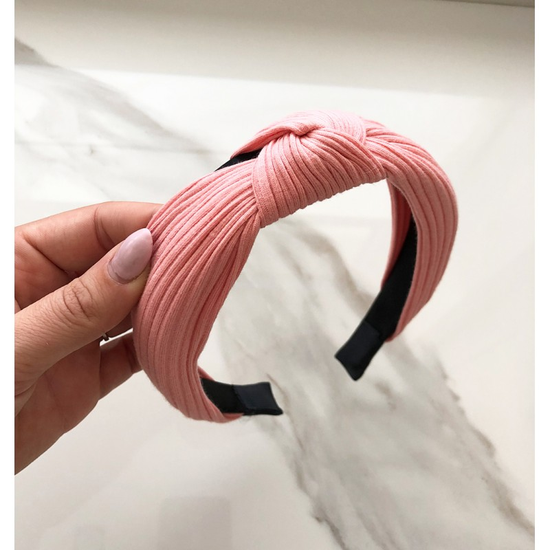 Opaska turban z materiału róż O210R