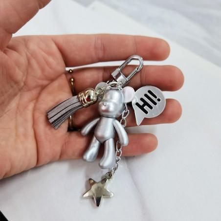 Brelok MIŚ perełki Srebrny mniejszy BRL24S
