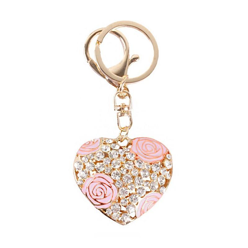 Brelok kryształowe serce róż BRL19R
