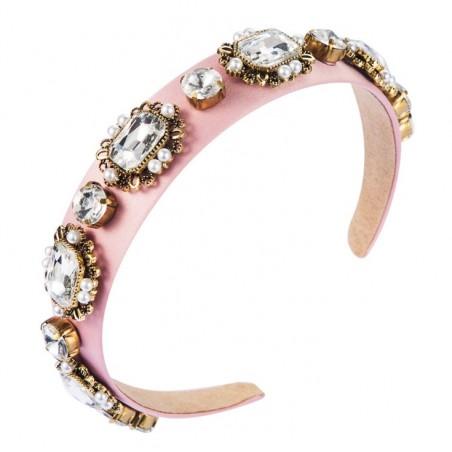 Opaska zdobiona kryształy szklane różowa O341R