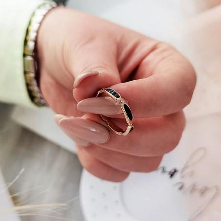 Pierścionek stal chirurgiczna platerowana złotem PST635